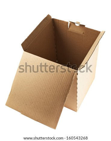 Cardboard box package isolated over white background - stock photo
