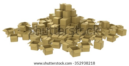 Cardboard box pile abstract, 3d, horizontal, over white - stock photo