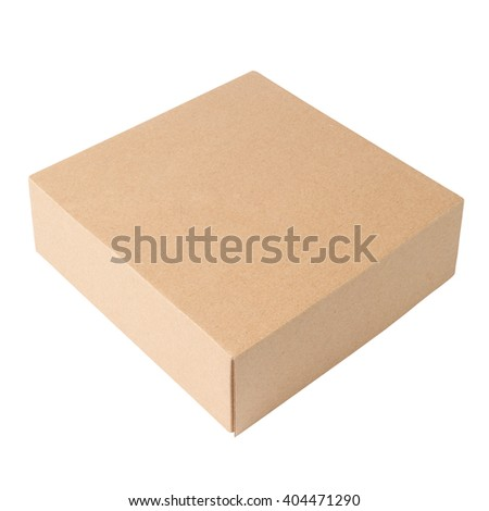 Cardboard box template isolated on white background - stock photo