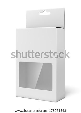 Cardboard box with a plastic window - stock photo