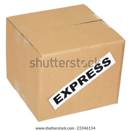 Cardboard box with an inscription express on white
