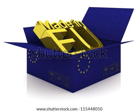 Cardboard box with European Union flag - stock photo