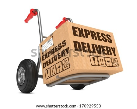 Cardboard Box with Express Delivery Slogan on Hand Truck White Background. - stock photo