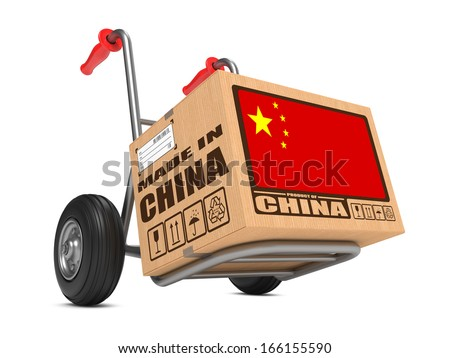 Cardboard Box with Flag of China and Made in China Slogan on Hand Truck White Background. Free Shipping Concept. - stock photo