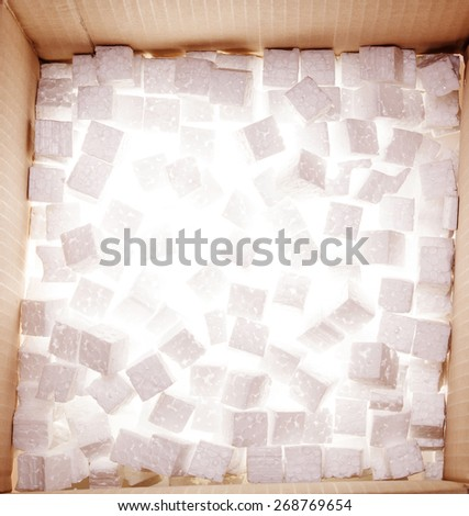 Cardboard box with foam - stock photo