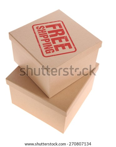 Cardboard Box with free shipping - stock photo