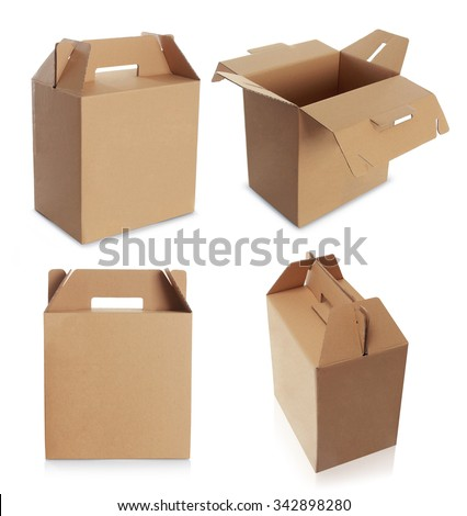 Cardboard box with handle isolated over a white background - stock photo