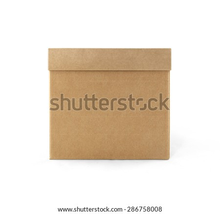 Cardboard box with lid front view isolated on white background. Packaging collection - stock photo