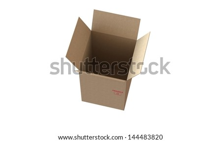 cardboard box with open lid isolated on white in perfect condition