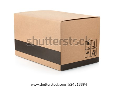 Cardboard box with packing symbols isolated on white
