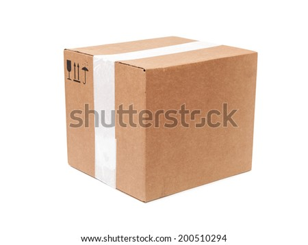 Cardboard box with standard black signs isolated on white background - stock photo