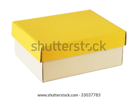 cardboard box with yellow cover - stock photo