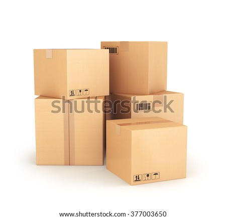 Cardboard boxes - stock photo