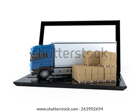 Cardboard boxes and two truck on a laptop screen . Concept of online goods orders worldwide - stock photo