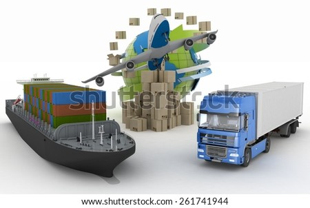 Cardboard boxes around globe, cargo ship, truck and plane. Concept of online goods orders worldwide - stock photo