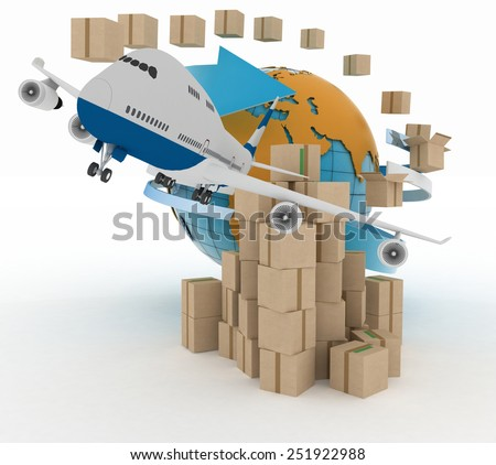 Cardboard boxes around the globe  and airplane. - stock photo