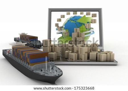 Cardboard boxes around the globe on a laptop screen and two cargo ships. Concept of online goods orders worldwide - stock photo