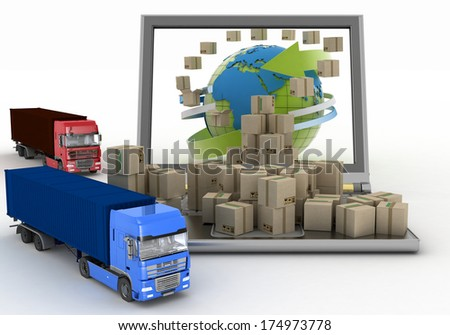 Cardboard boxes around the globe on a laptop screen and two trucks. Concept of online goods orders worldwide