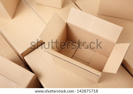 Cardboard boxes background - stock photo