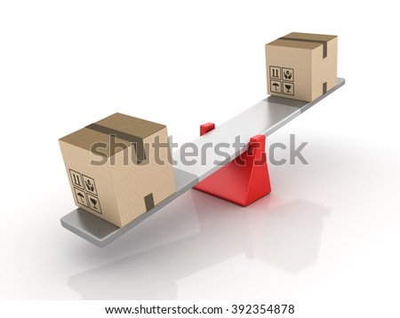 Cardboard Boxes Balancing on a Seesaw - Balance Concept - High Quality 3D Render   - stock photo