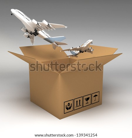 Cardboard boxes 3d illustration - stock photo