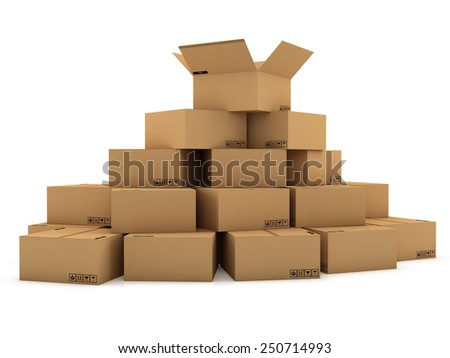 cardboard boxes 3d illustration, isolated on white background