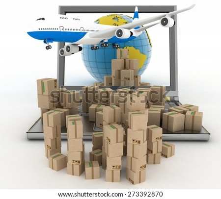 Cardboard boxes, globe on a laptop screen and airplane. Concept of online goods orders worldwide - stock photo