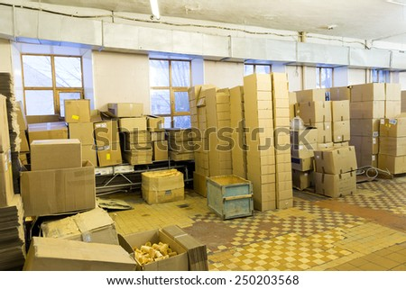 Cardboard boxes in a warehouse