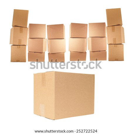 cardboard boxes isolated - stock photo