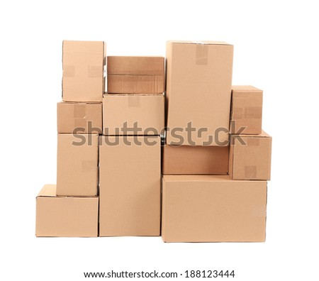 Cardboard boxes. Isolated on a white background. - stock photo