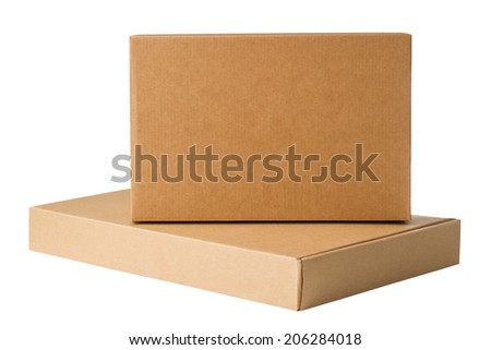 Cardboard boxes isolated on a white background - stock photo