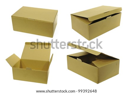 Cardboard boxes isolated on white - stock photo