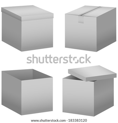 Cardboard boxes isolated on white.Raster illustration. - stock photo