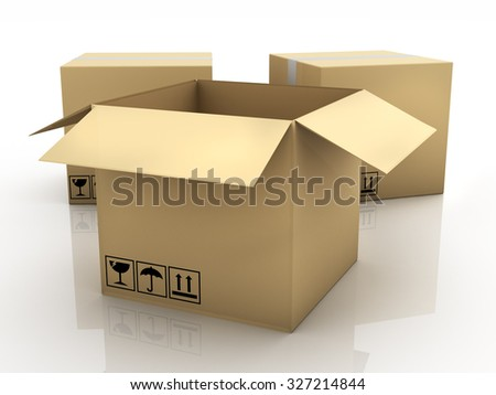 Cardboard Boxes isolated on white reflection background, 3d illustration.