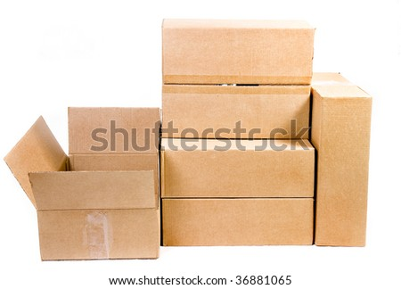 cardboard boxes isolated over a white background