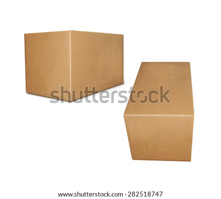 Cardboard boxes on a white background close up
