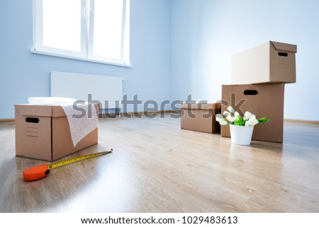 Cardboard Boxes On Laminate Floor Empty Stock Photo Royalty Free