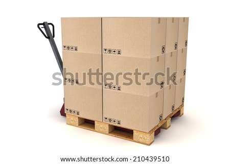 Cardboard boxes on pallet and hand forklift. Cargo, delivery and transportation logistics storage. - stock photo