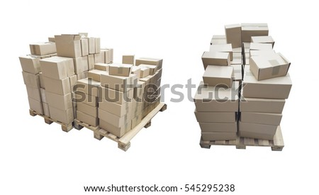 cardboard boxes on pallet for shipping isolated over white background