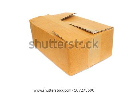 Cardboard Boxes on white - stock photo