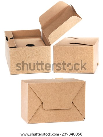 Cardboard boxes on white. - stock photo