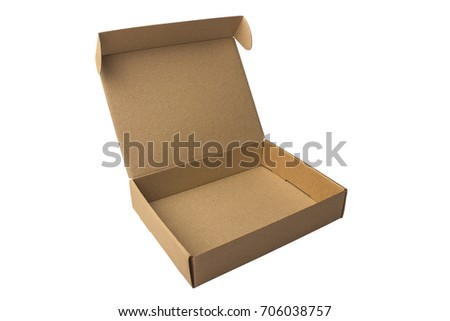 Cardboard boxes, on white background. Isolated. Corrugated cardboard