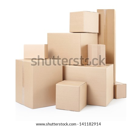 Cardboard boxes on white, clipping path - stock photo