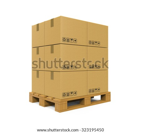 Cardboard Boxes on Wooden Palette - stock photo