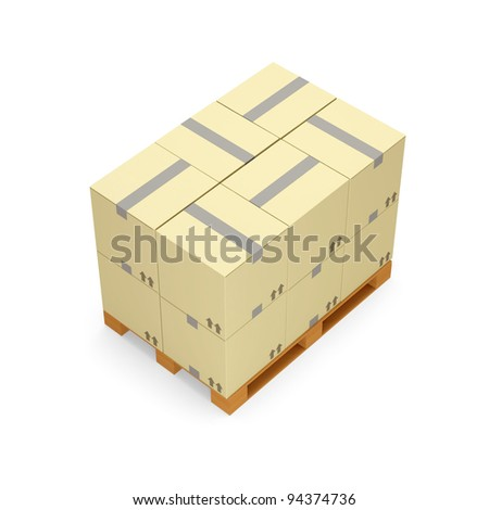 Cardboard Boxes on Wooden Palette isolated on white background - stock photo