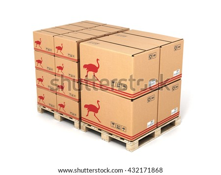 Cardboard boxes on wooden pallet isolated on white background 3d - stock photo