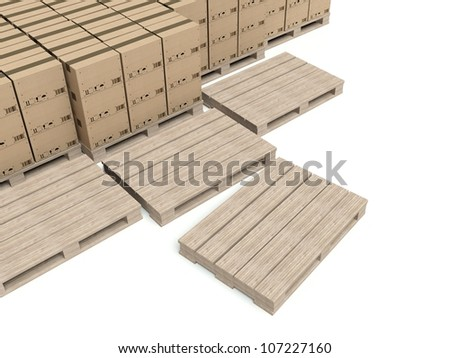 Cardboard boxes on wooden pallets, warehouse background
