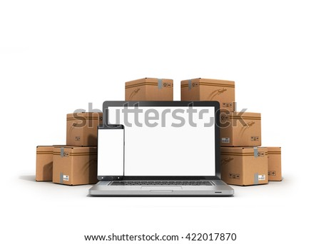 cardboard boxes package parcels and laptop - Logistic, cargo, delivery, and shipping concept 3D rendering - stock photo