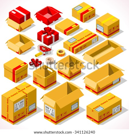 Cardboard Boxes Set Opened Closed Sealed with Tape Dispenser Big or Small Format. Flat Style Illustration Isolated on White Background. Delivery Infographic for Holiday Gift JPG JPEG Image Drawing Art - stock photo