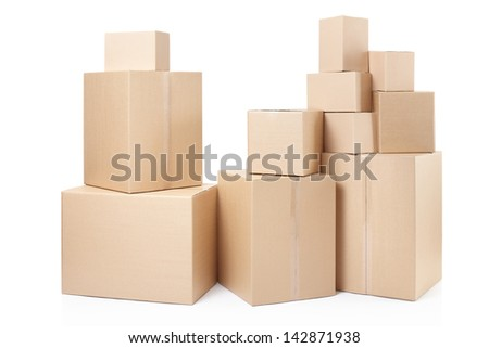 Cardboard boxes stack isolated on white, clipping path - stock photo